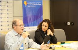 Diretor da ANA, Lotufo (à esq.), e coordenadora geral do Diálogo, Akhmouch, abrem discussões - Raylton Alves / Banco de Imagens ANA